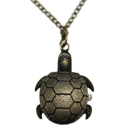 Brass Sea Turtle Case Analog Timepiece - Sea Turtle Necklace