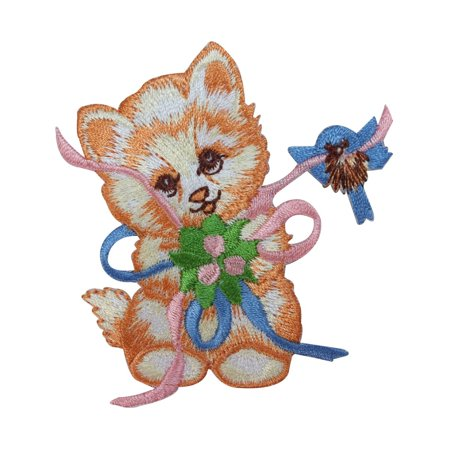 Bow Tie Applique - ID 2909 Kitten With Bow Patch Cute Cat Kitty Ribbon Embroidered Iron On Applique