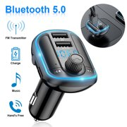 Car Calling Hands Free Adapter, EEEkit Bluetooth FM Transmitter for Calls& Music, Dual USB Charger, TF Card & USB Flash Drive, Compatible with iPhone, iPad, Android Phone