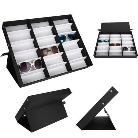Fdit 18 Grids Glasses Display Case Sunglasses Storage Box Organizer Glasses Jewelry Display Box, Glasses Organizer, Eyeglasses Display (Montreal Eyeglasses Stores)