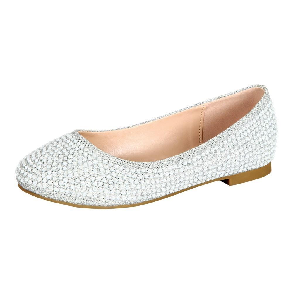 Little Girls Silver Glittery Bejeweled Slip-On Flat Dress Shoes 8-10 Toddler
