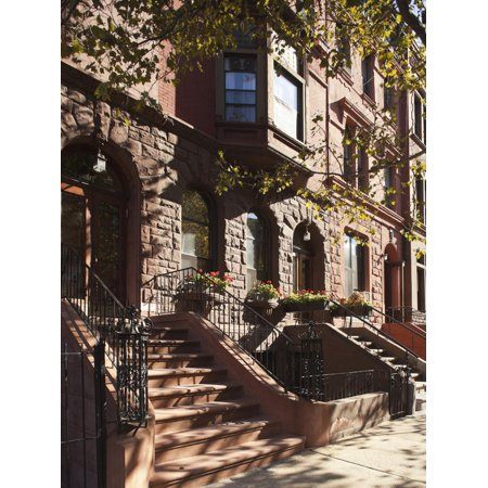 Brownstone Buildings in Harlem, Manhattan, New York City, USA Print Wall Art By Jon Arnold