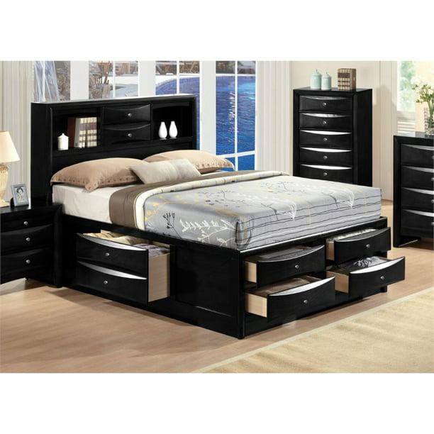 Bowery Hill Transitional Design Queen Size Bed with Storage, Headboard Bookcase in Black