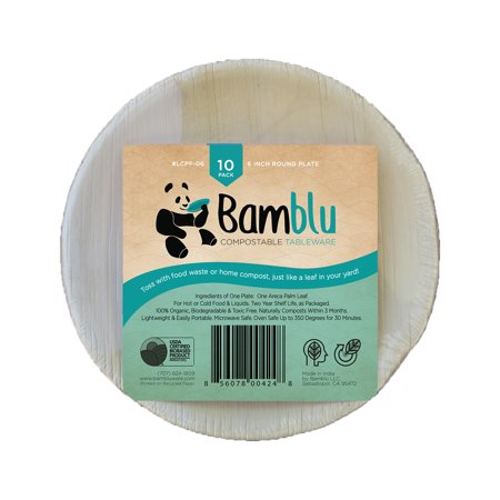 100 PC, Bamblu Home Compostable Designer Tableware, 6 inch Round Classic Palm Leaf Plate, LCPF-06-CS