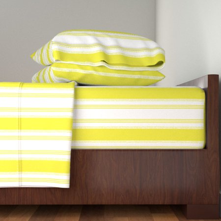 French Ticking Citron Green Chartreuse 100% Cotton Sateen Sheet Set by Roostery