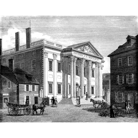 First Bank Of Us 1799 Nthe First Bank Of The United States In Third Street Philadelphia Line Engraving 1799 By William Birch   Son Rolled Canvas Art     24 X 36