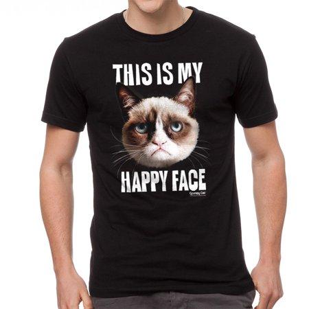 Grumpy Cat Happy Face Men's Black T-shirt NEW Sizes - Grumpy Cat Happy Halloween