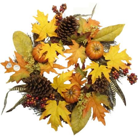 Fall Pumpkin/Feather Mixed Wreath