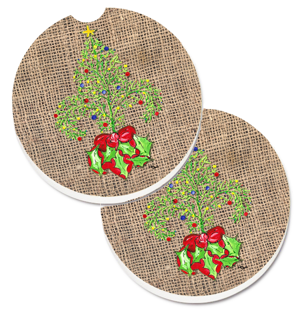 Christmas Tree Fleur de lis Set of 2 Cup Holder Car Coasters 8745CARC