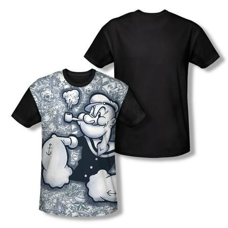 Popeye Mens  Tattooed Sailor Sublimation T Shirt White