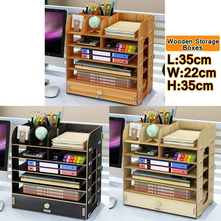 Wooden Cosmetic Storage Box Desk Table Container Collection Box Shelf Shelves Rack for Office Home Dorm ()