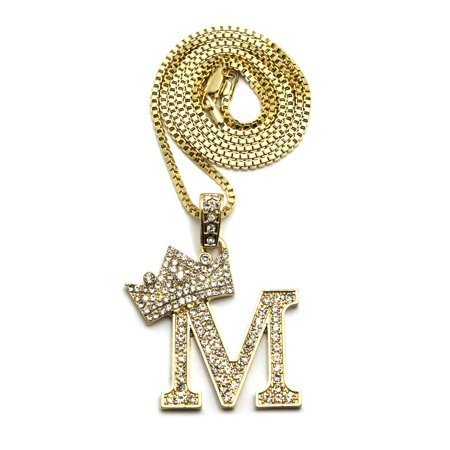 Stone Stud Allover Tilted Crown Initial M Pendant w/ 2mm 24