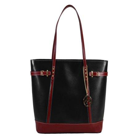 Ladies Top Grain - McKlein SERAFINA, Ladies' Tote with Tablet Pocket, Top Grain Cowhide Leather, Black (97565)
