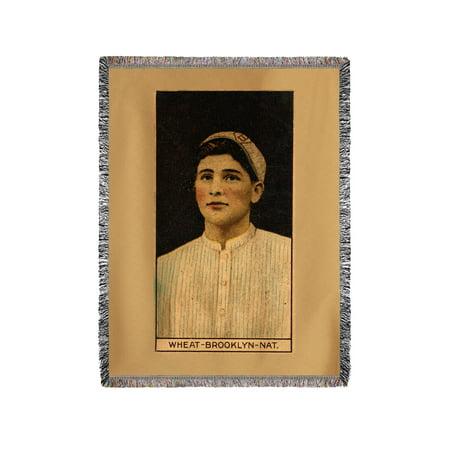 Dover Blanket - Brooklyn Dodgers - Zack Wheat - Baseball Card (60x80 Woven Chenille Yarn Blanket)