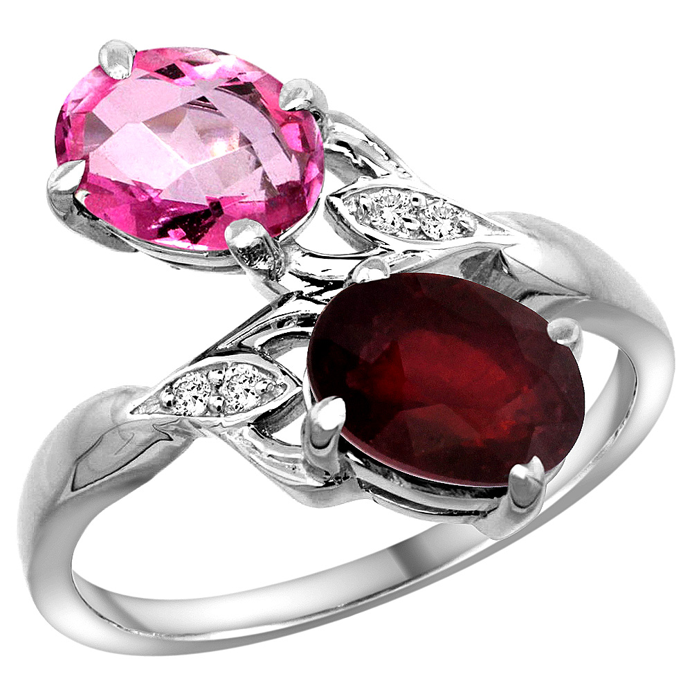 10K White Gold Diamond Natural Pink Topaz & Enhanced Genuine Ruby 2-stone Ring Oval 8x6mm, sizes 5 10 by WorldJewels