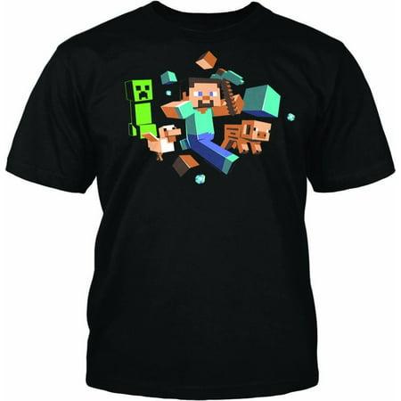 Minecraft Run Away Glow in the Dark Adult T-Shirt (Man Pulls Down Womens Tops And Runs)