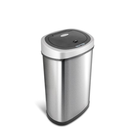 NineStars DZT-50-9 Touchless Stainless Steel 13.2 Gallon Trash Can
