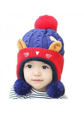 Fymall Infant Winter Warm Cute Cat Ear Kniited Crochet Hat