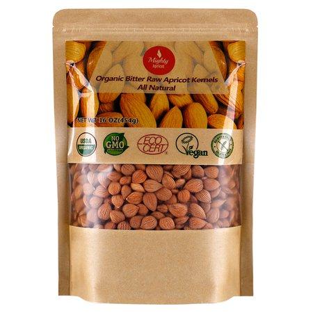 Flax Seed Gluten Free - Organic Bitter Apricot Seeds (1LB) 16oz, Organic Bitter Apricot Kernels, Natural Raw USDA Organic Bitter Apricot Seeds, Vegan, Non-GMO, Gluten Free, Great source of Vitamin B17 and B15