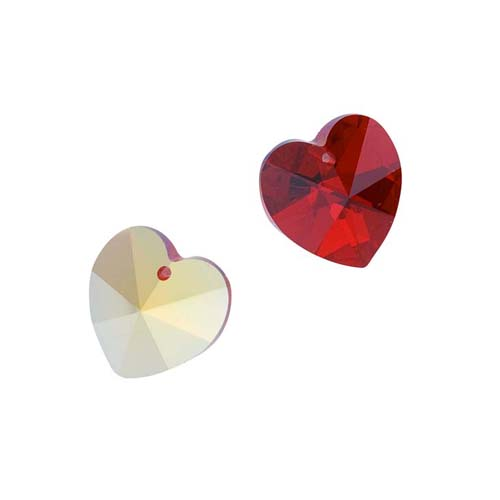 Swarovski Crystal, #6228 Heart Pendants 14mm, 2 Pieces, Siam AB