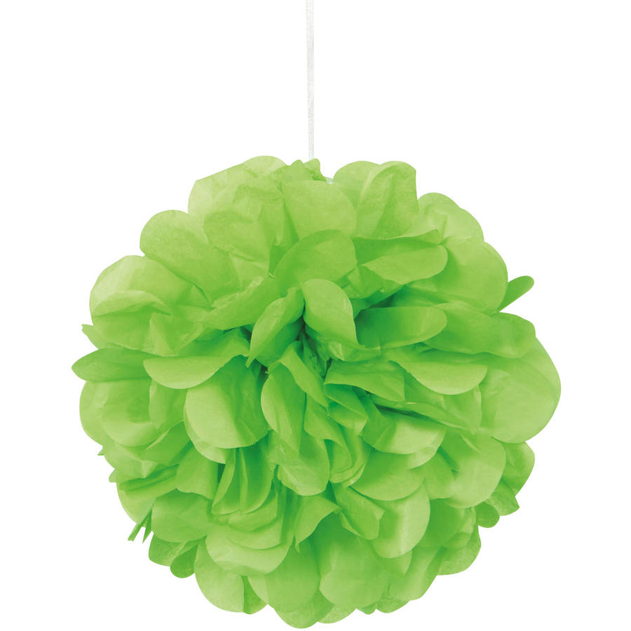 Tissue Paper Pom Poms, 9 in, Lime Green, 3ct
