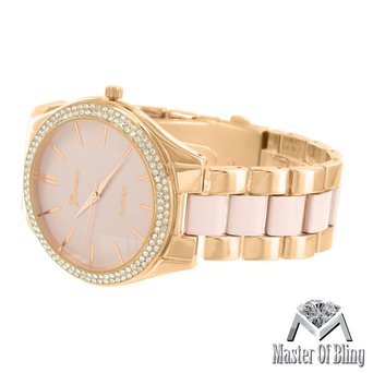 Rose Finish Geneva Watch Parkers Rose Gold Tone Pink Dial Simulated Diamonds New