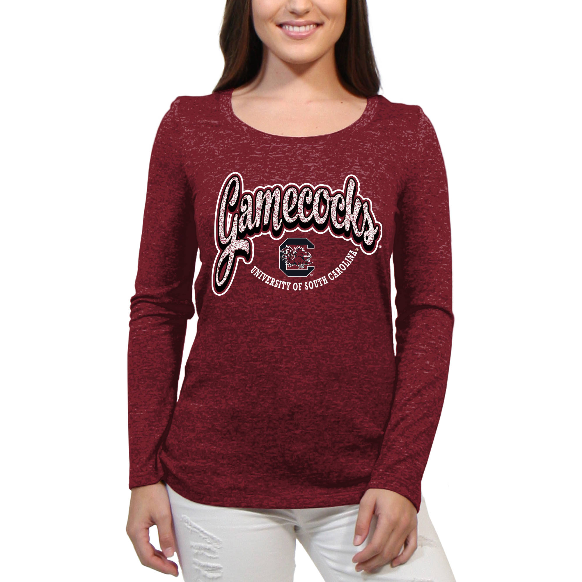 South Carolina Gamecocks Funky Script Women'S/Juniors Team Long Sleeve Scoop Neck Shirt