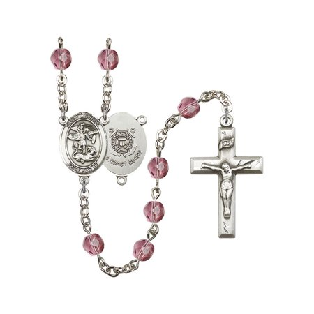 St. Michael / Coast Guard Silver-Plated Rosary 6mm February Purple Fire Polished Beads Crucifix Size 1 3/8 x 3/4 medal charm