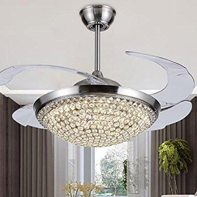 ... Tiptonlight Chrome Crystal Retractable Ceiling Fan 42 Inch Ceiling Fan  Lights With Remote Control Modern Fashion