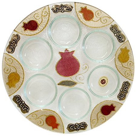 Ben and Jonah Glass Art Pomegranate Seder Plate 12