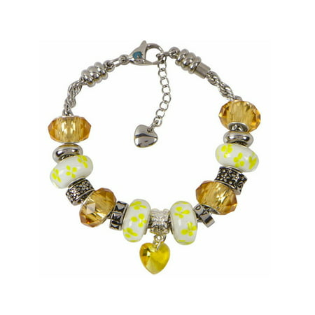 Topaz Charm Bracelet With European Bead Charms For Women Stainless Steel Rope Chain Wisdom 8 Inch