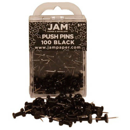 JAM Paper Push Pins/Thumb Tacks, Black, 100-Pack