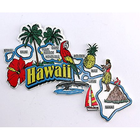 Hawaii State Map and Landmarks Collage Fridge Souvenir Collectible Magnet - Hawaiian Souvenir Ideas