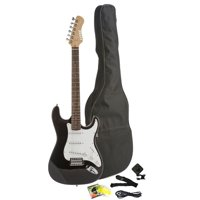 Fever Full Size Electric Guitar with Gig Bag, Clip on Tuner, Cable, Strap and Strings Color Black