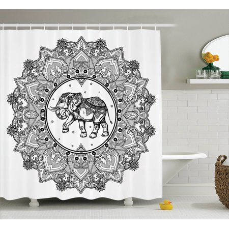 - Mandala Decor Shower Curtain Set, Digital Paisley Mandala Motif With Elephant Inside Ideal Ethnic Strength Honor Symbol, Bathroom Accessories, 69W X 70L Inches, By Ambesonne