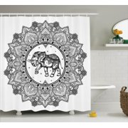 Mandala Decor Shower Curtain Set, Digital Paisley Mandala Motif With Elephant Inside Ideal Ethnic Strength Honor Symbol, Bathroom Accessories, 69W X 70L Inches, By Ambesonne