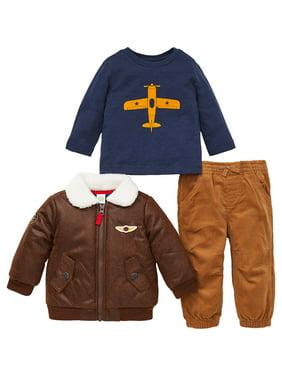 Little Me Boys 3 Piece Jacket, Top Pant Outfit Set (Denim, 12M)