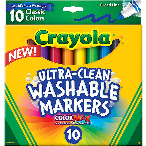 Crayola Ultra Clean Classic Broad Line Marker, 10-Count