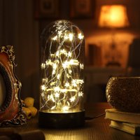 """Decorative Fairy Night Light, XY Decor 11"""" Dual Power Operated Table/Desk Lamp with Warm White Star String Lights Inside for Home Decor and Holiday Decoration"""