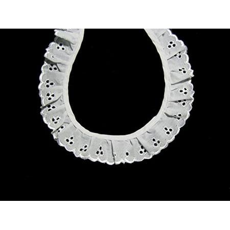 "Altotux 1.5"" White Gathered Ruffled Cotton Eyelet Lace Trim Lot Notions by 5 Yds"