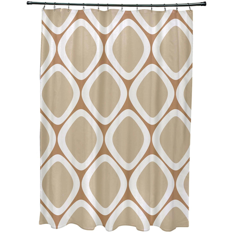 "Simply Daisy 71"" x 74"" Pebbles Geometric Print Shower Curtain"