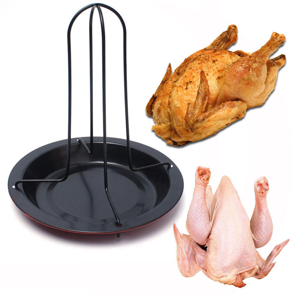 Vertical Stainless Steel Chicken Roaster Rack Duck Holder Grill Stand Roasting Sturdy BBQ Barbecue Tray for Oven Cooking Grill Pan Tool