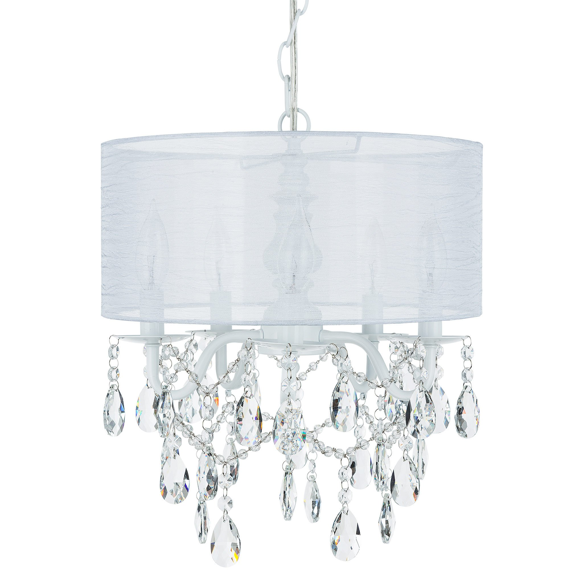 Amalfi Decor 5 Light Crystal Plug-In Chandelier with Cylinder Shade (White)   H   Wrought Iron Frame with... by