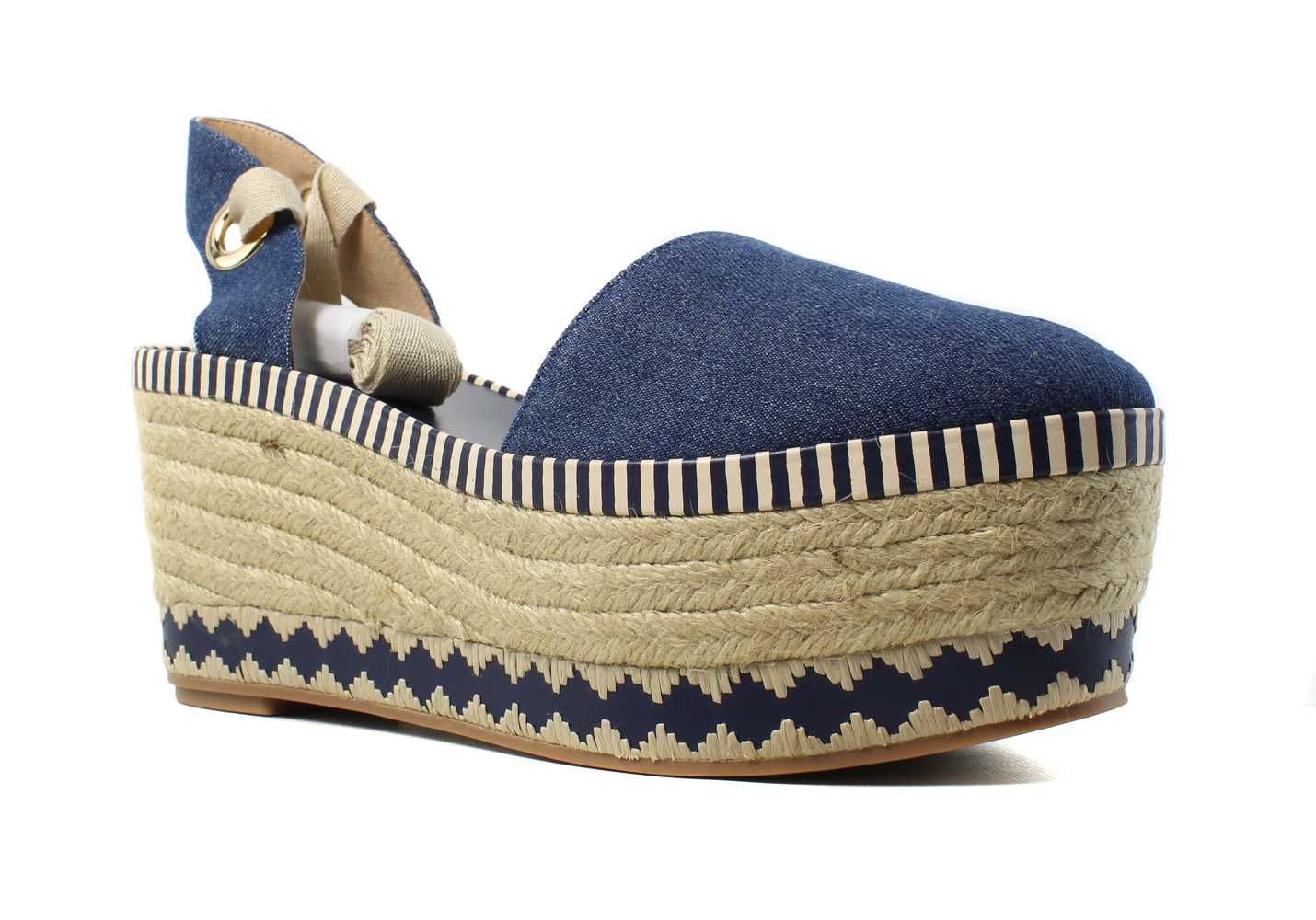 Tory Burch Womens  Blue Espadrille Heels Size 7.5 New