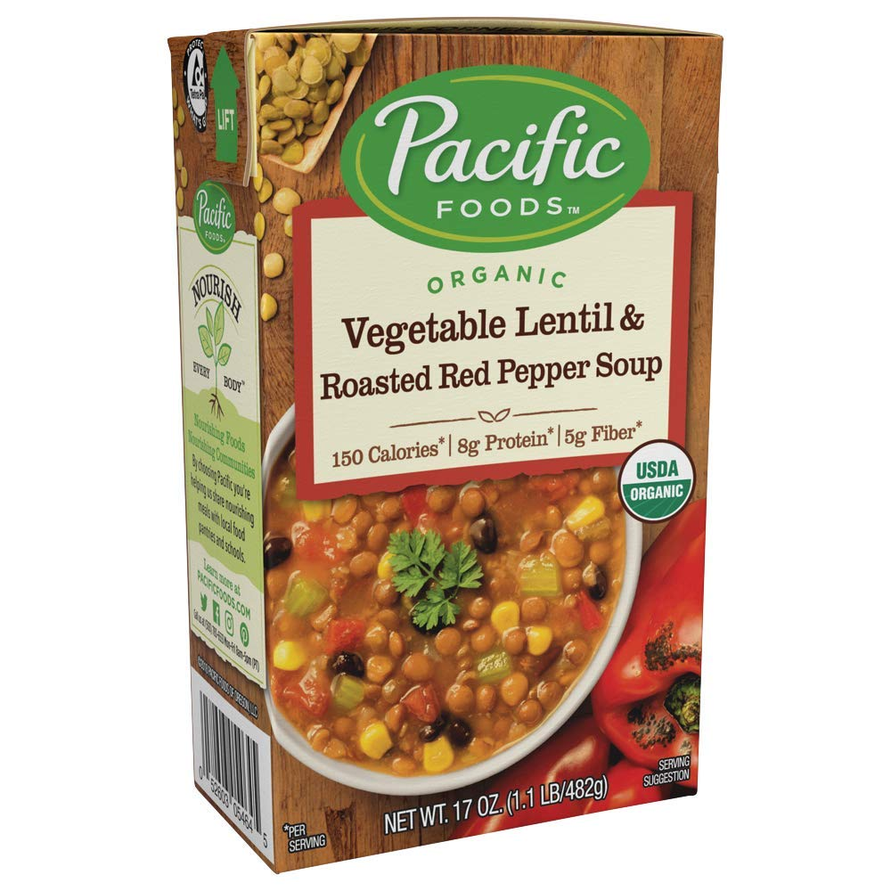 Pacific Foods Organic Vegetable Lentil and Roasted Red Pepper Soup, 17 fl oz