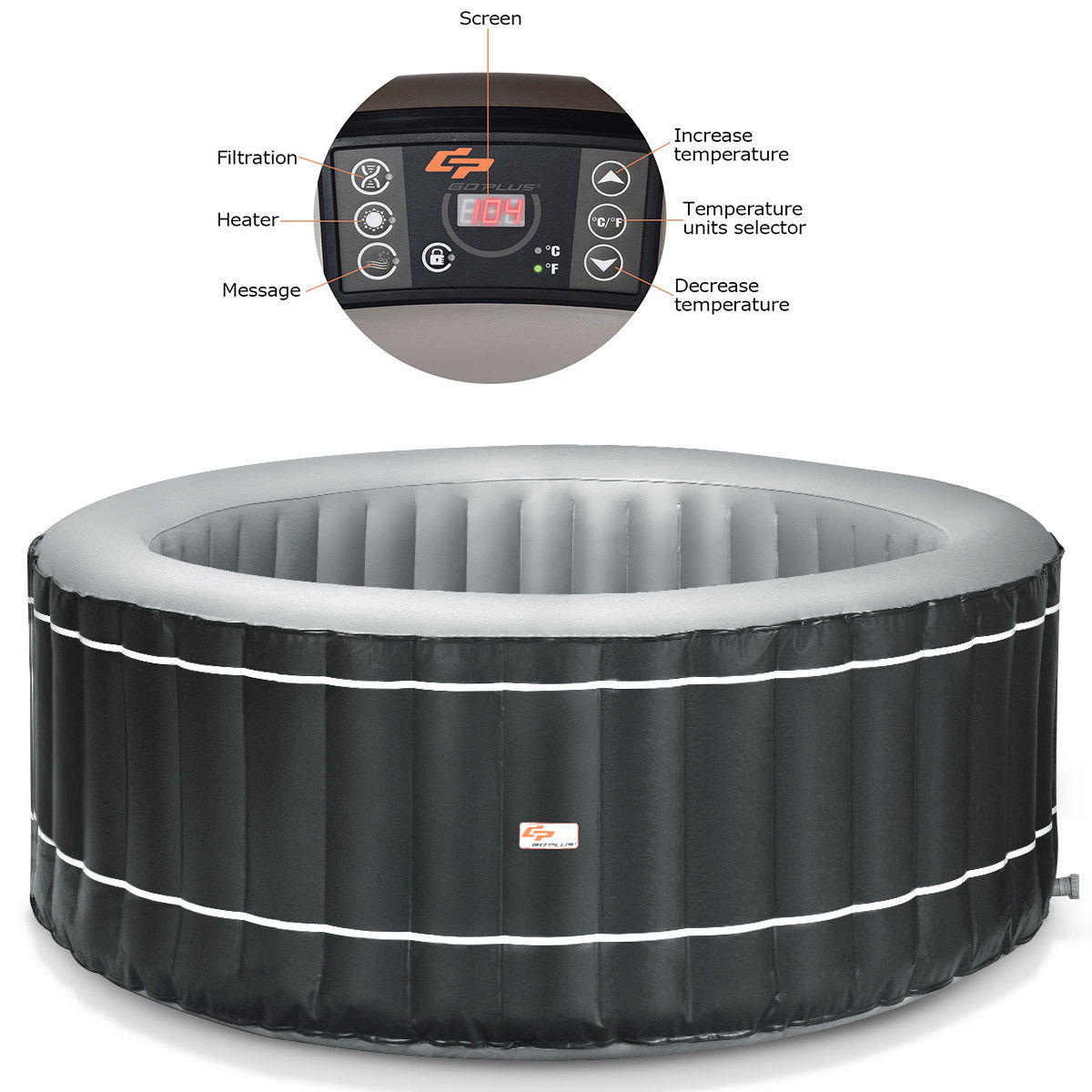 4-Person Inflatable Hot Tub Portable Outdoor Bubble Jet Leisure Massage Spa Gray - image 5 of 8