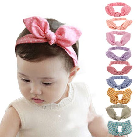 17a5fd484bfa Coxeer - (Free size 9Pcs)Bowknot Headbands for Baby Girls