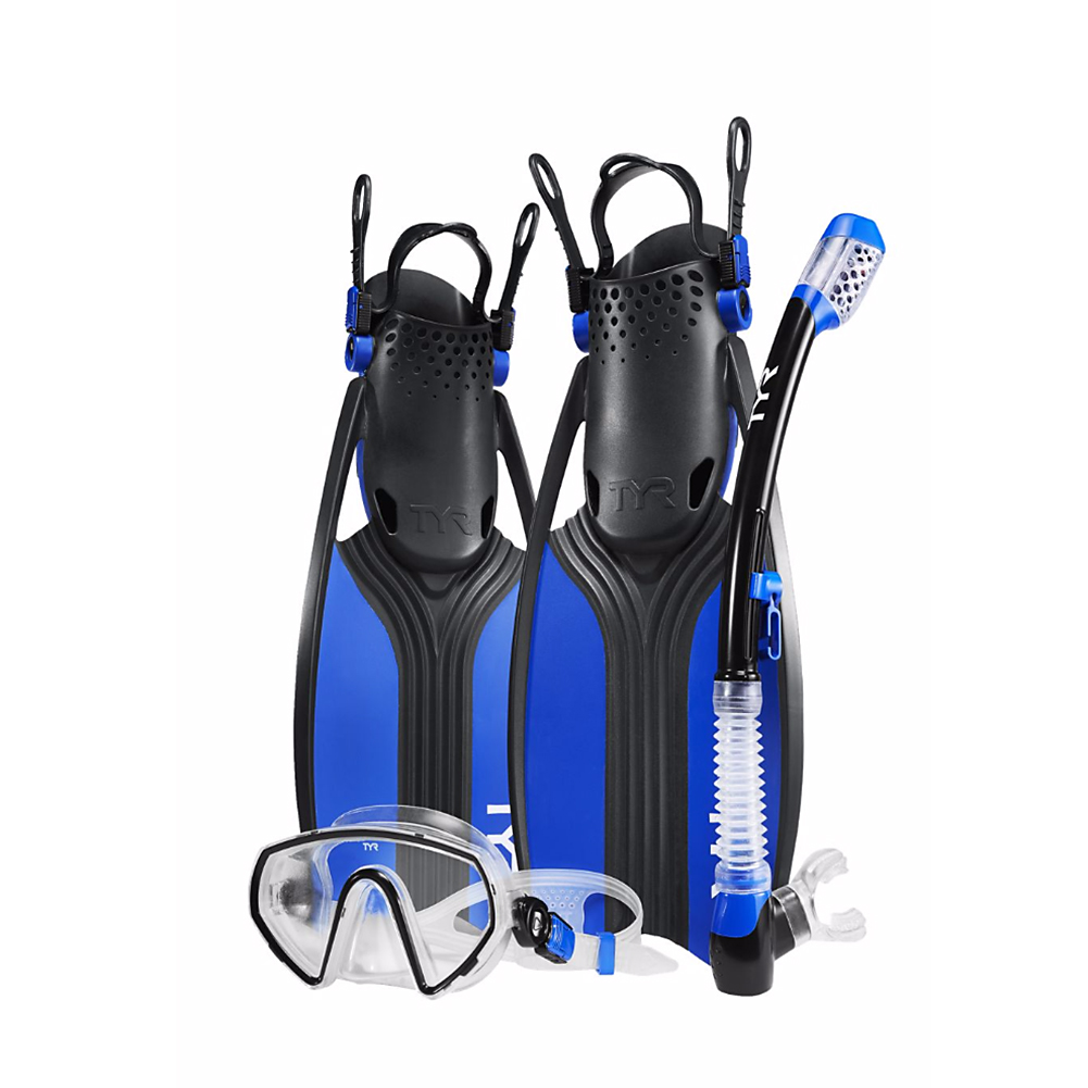 TYR Voyager Mask Snorkel Fin Set Blue Black by TYR