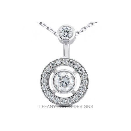1.18ct F-SI1 Exc Round AGI Natural Diamonds 14k Gold Bezel Set Halo Pendant (Tiffany Jewellery Designs)