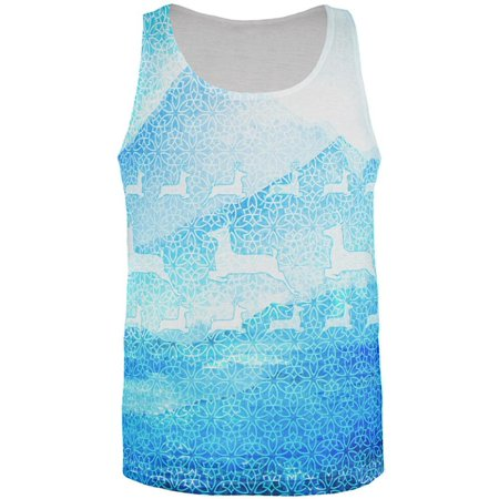 Not An Ugly Christmas Sweater Winter Mountains Deer All Over Mens Tank Top Multi X-LG Mountain Hardwear Mens Tank Top